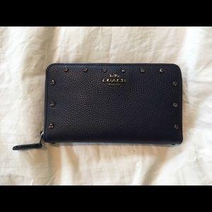 Coach crystal beaded medium zip wallet